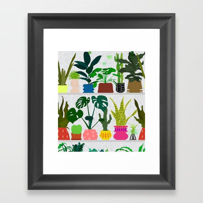 Plants on the Shelf in Gray + White Wood Framed Art Print