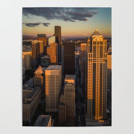 Downtown Seattle Sunset Poster
