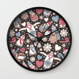 Penguin Christmas gingerbread biscuits Wall Clock