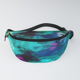 pink blue and green kisses lipstick abstract background Fanny Pack