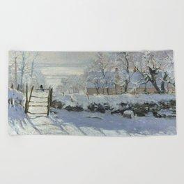 Monet, The Magpie (La Pie) (Die Elster) 1868-1869 Beach Towel