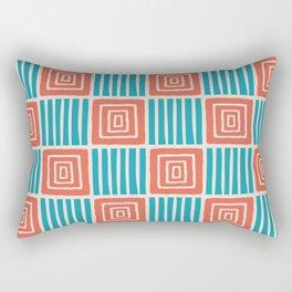 Retro Mid Century Modern Check Pattern 733 Turquoise and Orange Rectangular Pillow