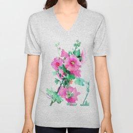 Hollyhock, Green pink design floral, Pink Flowers vintage floral design Unisex V-Neck