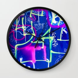 Blue Mood with Pink Language Wall Clock