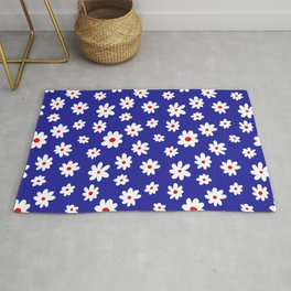 Daisy Pattern (blue/red/white) Rug