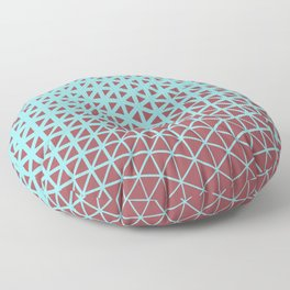 Red and Pastel Blue Geometric Triangle Pattern 2021 Color of the Year Passionate & Breezy Aqua Floor Pillow