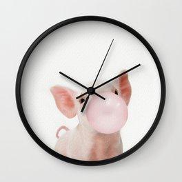 Bubble Gum Baby Pig Wall Clock