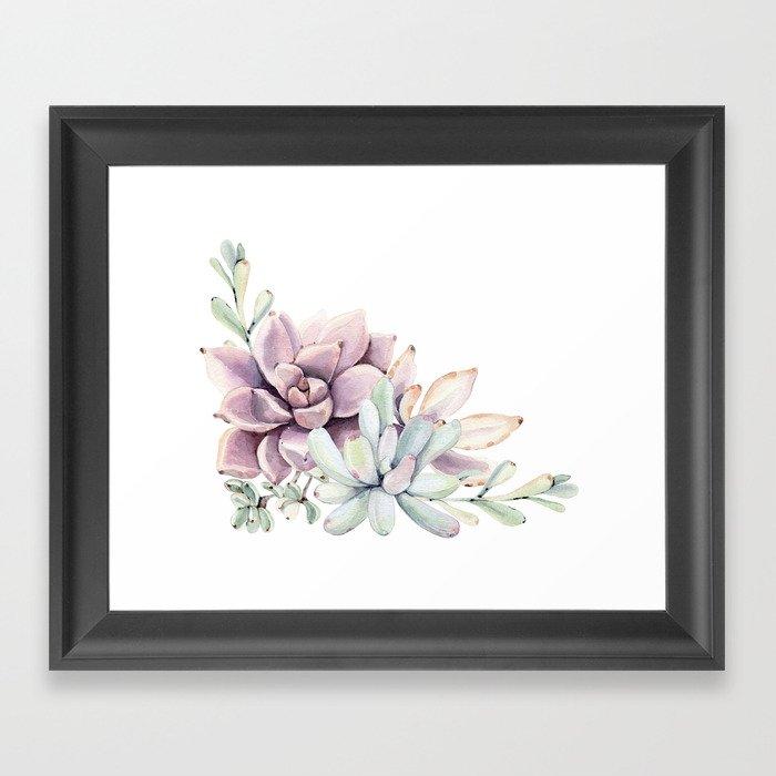 Desert Succulents on White Framed Art Print