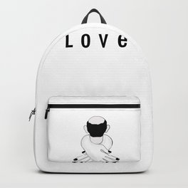 Love . Woman Hugging and Man Backpack