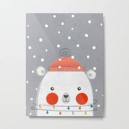 Christmas Polar Bear Metal Print