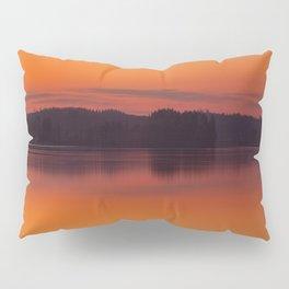 Evening Lakescape Orange Sunset Sky Reflection #decor #society6 #buyart Pillow Sham