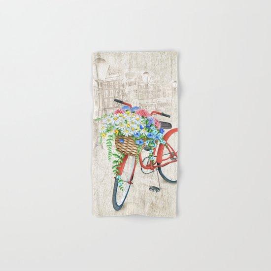 Red bike & white daisy Hand & Bath Towel