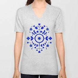 Boho Floral - Cobalt Blue Denim Unisex V-Neck
