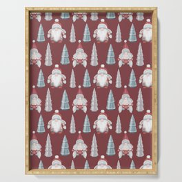 CHRISTMAS GNOMES - deep red Serving Tray
