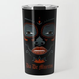 Mexican girl in tattoo style with traditional make-up Travel Mug