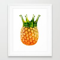 pinapple Framed Art Prints featuring kingapple by sustici