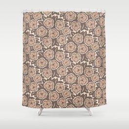 Mid Century Modern Flower Bouquet Pattern Beige Shower Curtain