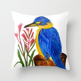 Pretty Kingfisher with Kangaroo Paw flowers Throw Pillow