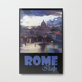 Rome Italy Retro Travel Poster Metal Print
