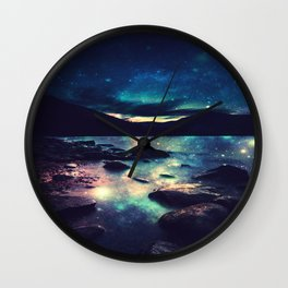 Magical Mountain Lake : Deep Pastels Teal Mauve Wall Clock