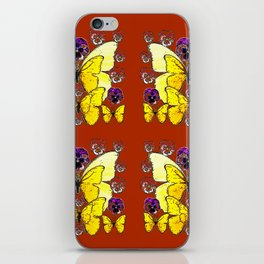 RUST COLORED YELLOW  BUTTERFLY & PANSY FLORAL iPhone Skin