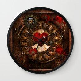 Steampunk, awesome steampunk heart Wall Clock
