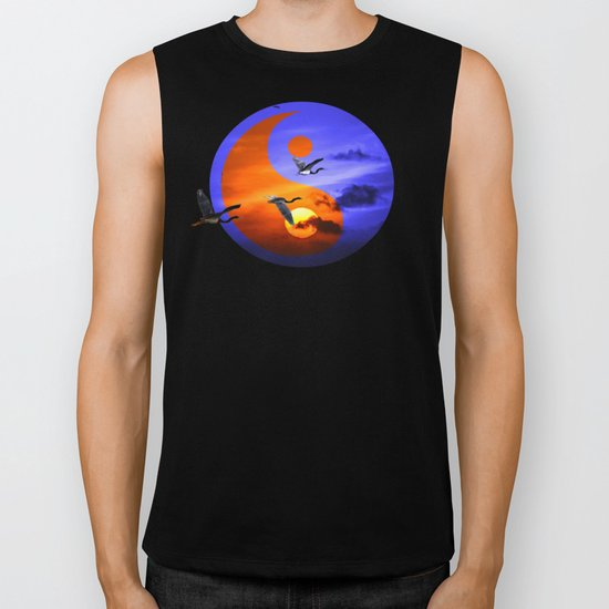 sunset and herons in fly Biker Tank