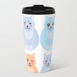 set funny cats, pastel colors on white background Travel Mug