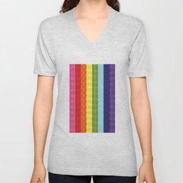 TorsoPattern Gay Pride Flag (Original 8-Color) Unisex V-Neck