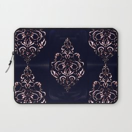 Blush Pink Ornamental Pattern on Navy Distressed Background Laptop Sleeve