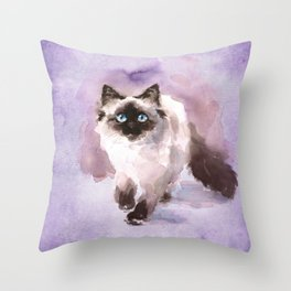 Watercolor Siamese Cat Throw Pillow