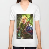 the legend of zelda V-neck T-shirts featuring Link - Legend of Zelda by Sanjin Halimic