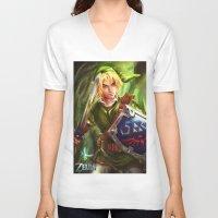 legend of zelda V-neck T-shirts featuring Link - Legend of Zelda by Sanjin Halimic