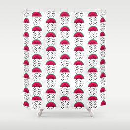 Watermelon - modern fruit summer citrus vegan vegetarian juicing cleanse art print dorm decor Shower Curtain