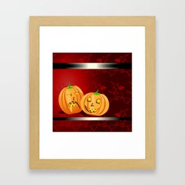 Pumpkins and spooky witches Framed Art Print
