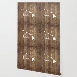 Hawaii is Home- White on Wood Wallpaper