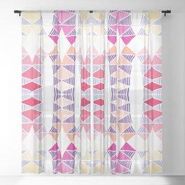 Colorful Tropical Vertical Geometric Zenspire Pattern Sheer Curtain