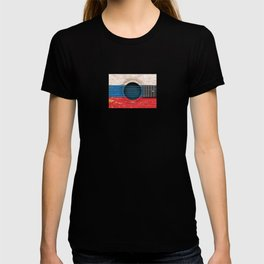 Old Vintage Acoustic Guitar with Russian Flag T-shirt