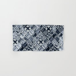 Simply Tribal Tiles in Indigo Blue on Lunar Gray Hand & Bath Towel