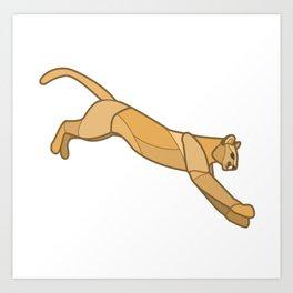 Geometric Mountain Lion / Cougar Art Print