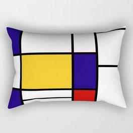 Primary Colors Geometric Pattern Fabric - Mondrian Fabric - Bauhaus Style Lines Home Decor Cotton Rectangular Pillow