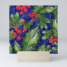 Christmas Snow Holly | Blue Mini Art Print