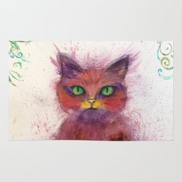 Green Eyes Colorful Cat Rug