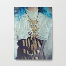 """Steampunk """"Chatelaine"""" Necklace Metal Print"""