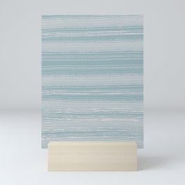 Abstraction. Graphic horizontal blue lines. Mini Art Print