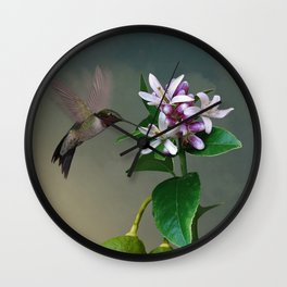 Lemon Tree and Hummingbird Wall Clock