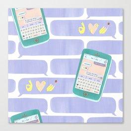 Paper Cut Texting Canvas Print