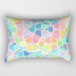 Rainbow Cubes & Diamonds Rectangular Pillow