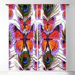 LILAC  FANTASY BUTTERFLIES GREEN PEACOCK EYES Blackout Curtain