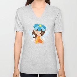 Cute Fairy, Brown Hair, Fairy With Blue Flower Unisex V-Neck